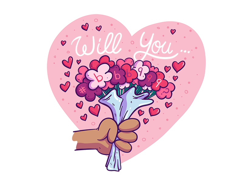 "IMAGE: Bouquet of roses reading ""Will you bbb999"""