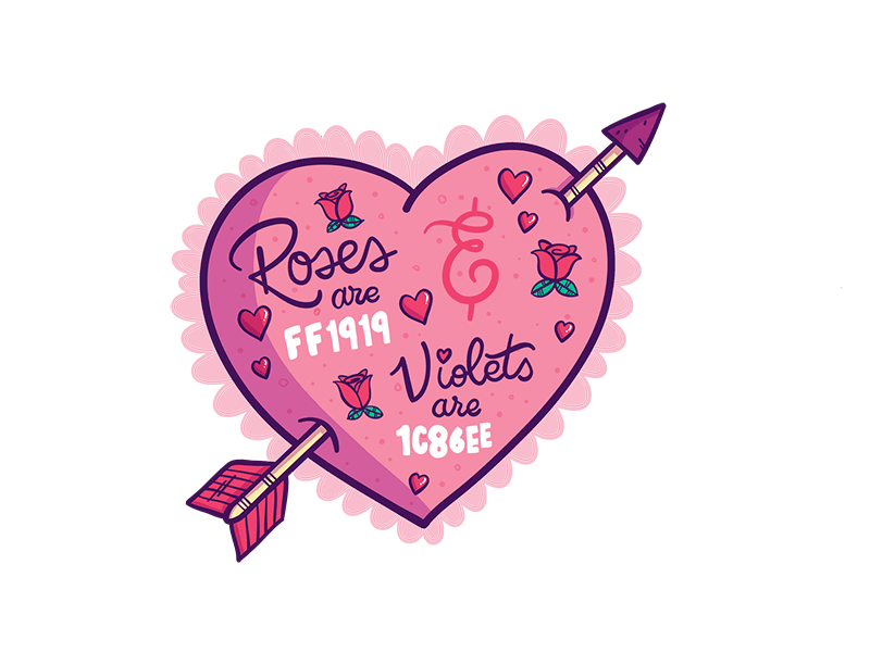 "IMAGE: Pink heart and arrow with text ""Roses are FF1919 Violets are 1C86EE"""