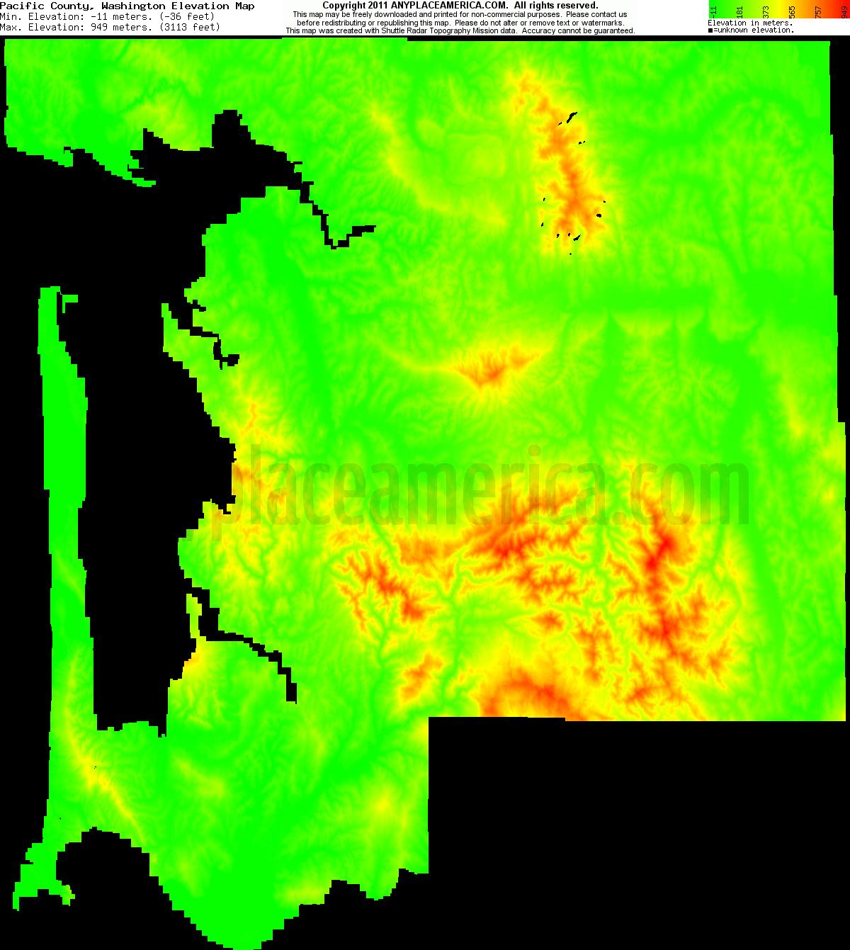 Free Pacific County Washington Topo Maps Amp Elevations