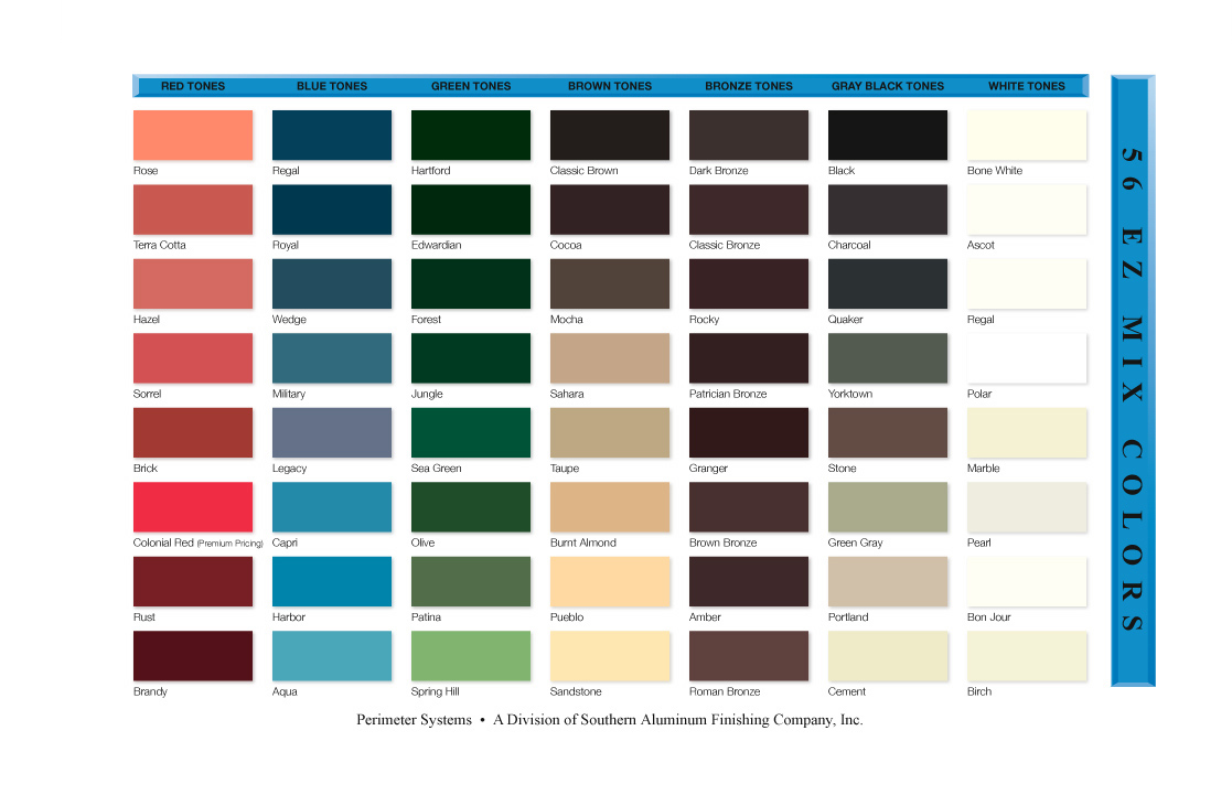 Anodized Aluminum Finish Color Chart - Ofertasvuelo