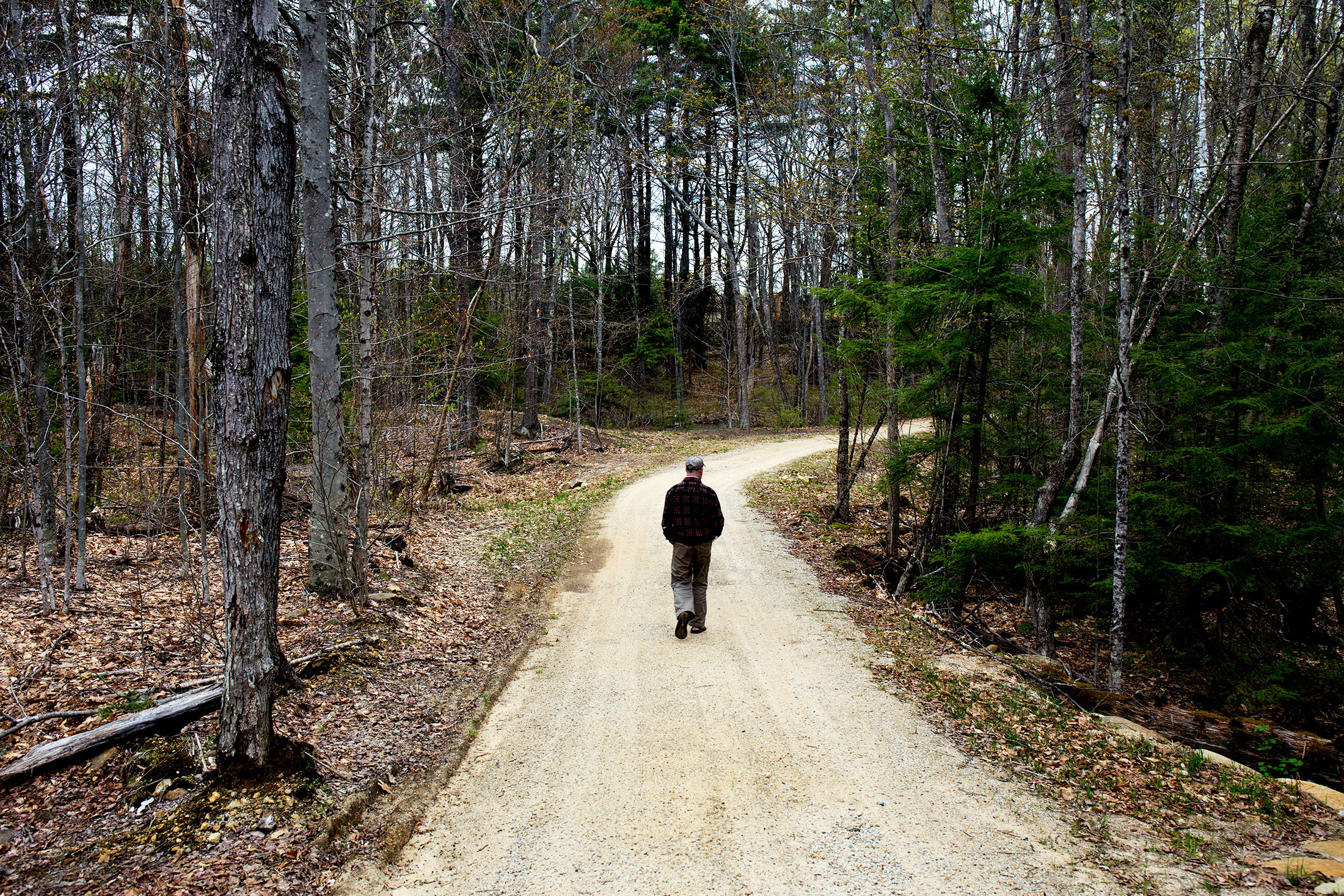 Stephen Blackmer walks toward his place of worship in Canterbury, New Hampshire.