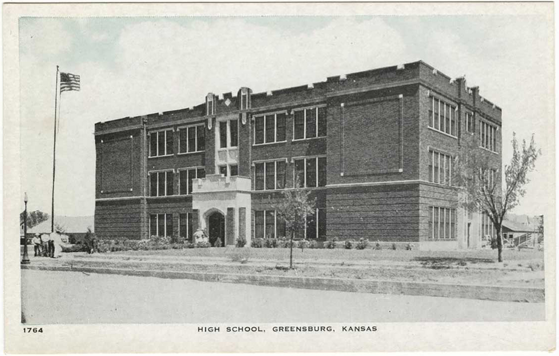 A postcard of Greensburg High School in the 1920s. (Kansas Historical Society)