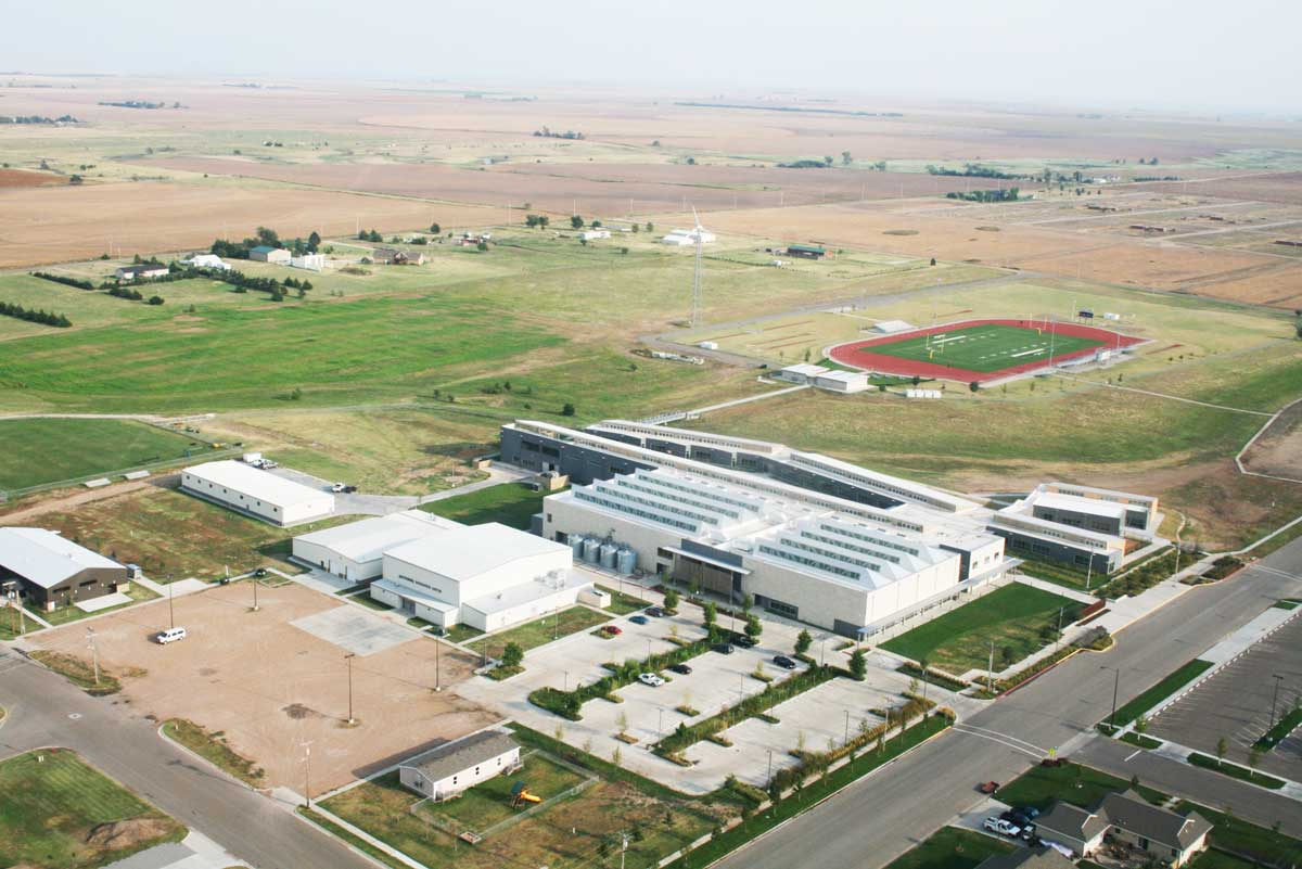 An aerial view of Kiowa County High School. The windmill that provides power to the school can be seen to the left of the football field. (Randy Fulton)