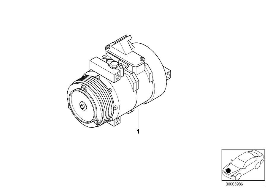 BMW OEM 64526910460 USED COMPRESSOR 540i E39 5 Series 54