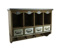 Zeckos Wooden Wall Mounted Organization Center w/Metal