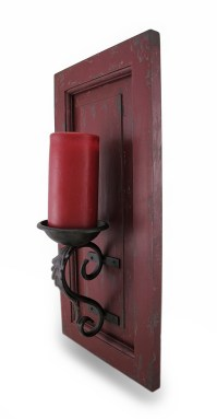 Distressed Finish Wood and Metal Wall Sconce Candle Holder ...