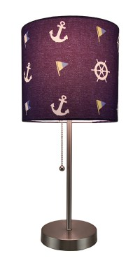 Nautical Stainless Steel Accent Lamp w/Navy Drum Shade | eBay