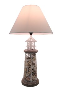 Seashell Filled Metal Mesh Lighthouse Lamp Table Lamps - Tanga