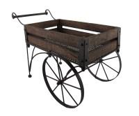 Rustic Wood And Metal Indoor/Outdoor 2 Wheeled Wagon Cart ...