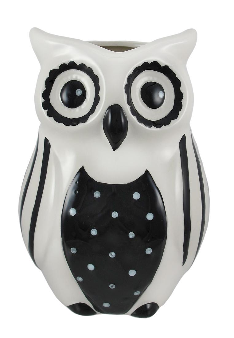 Black and White Ceramic Owl Vase