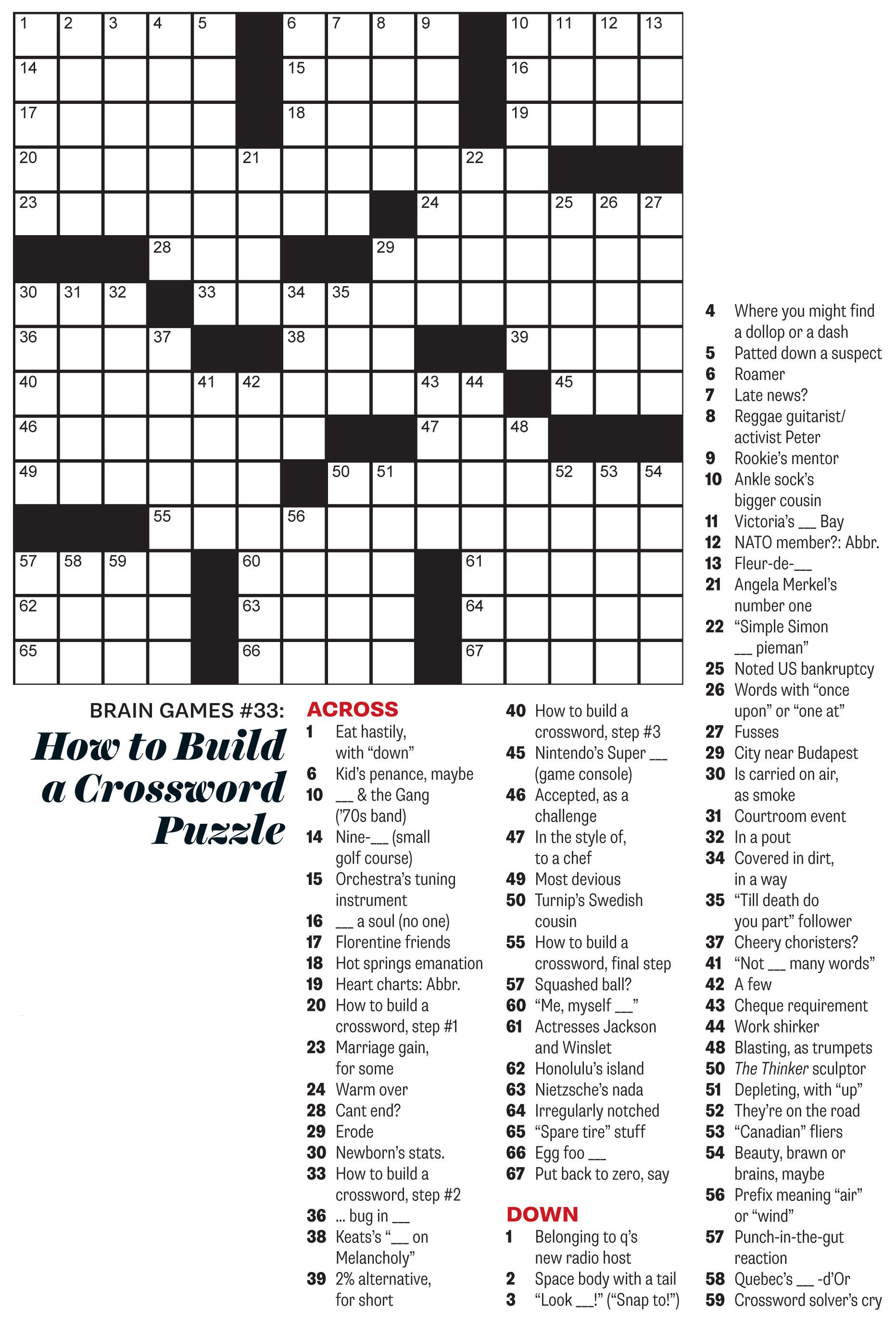 October 2015 Crossword: How to Build a Crossword Puzzle