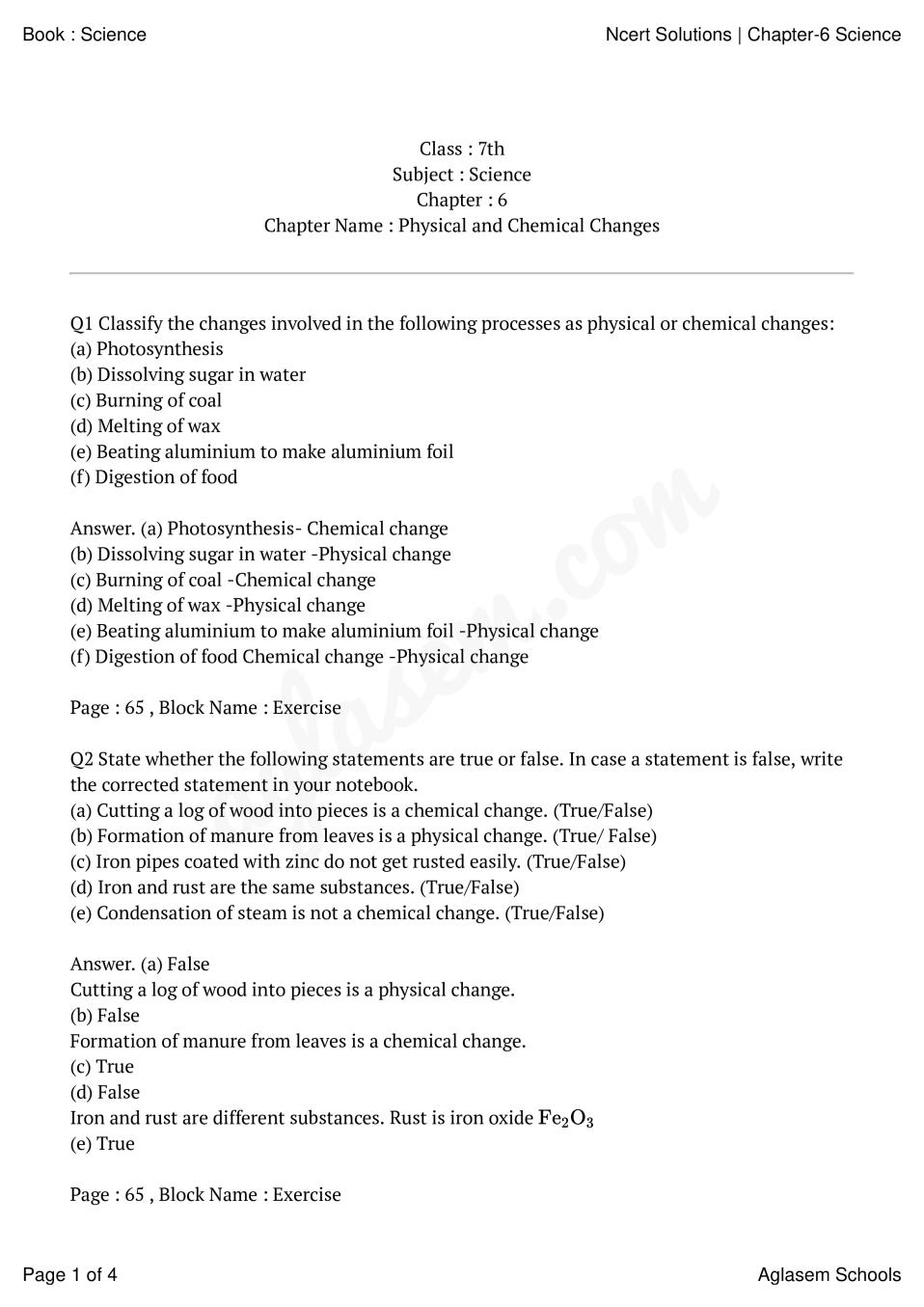 hight resolution of NCERT Solutions for Class 7 Science Chapter 6 – Physical and Chemical  Changes   AglaSem Schools