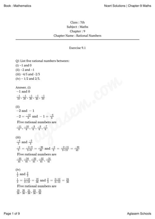 small resolution of NCERT Solutions for Class 7 Maths Chapter 9 Rational Numbers   AglaSem  Schools
