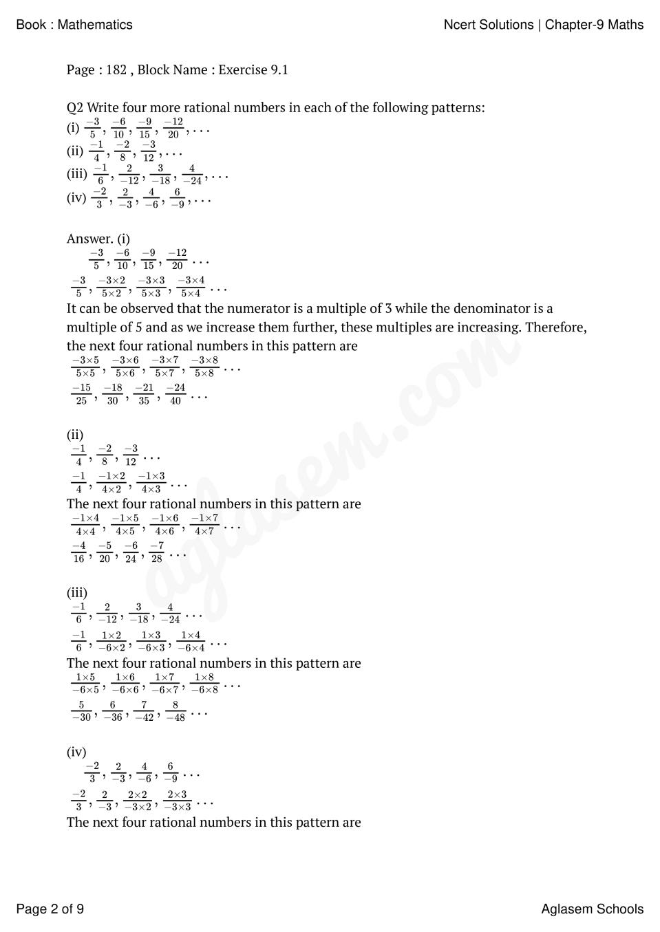 hight resolution of NCERT Solutions for Class 7 Maths Chapter 9 Rational Numbers   AglaSem  Schools