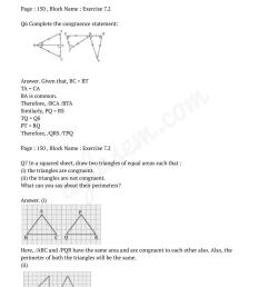 NCERT Solutions for Class 7 Maths Chapter 7 Congruence of Triangles    AglaSem Schools [ 1355 x 959 Pixel ]