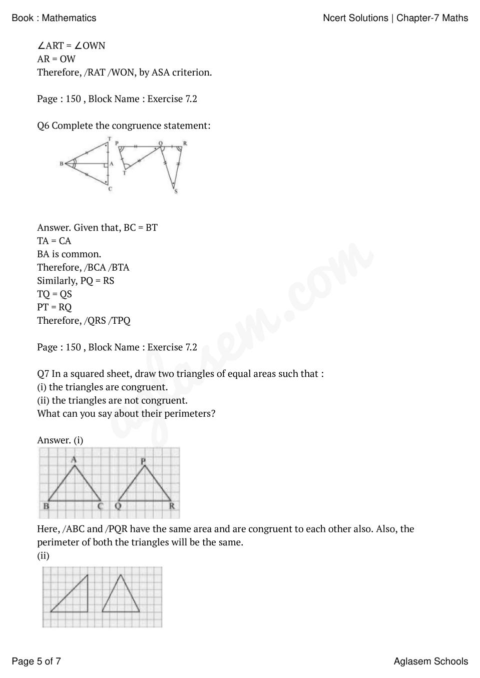 hight resolution of NCERT Solutions for Class 7 Maths Chapter 7 Congruence of Triangles    AglaSem Schools