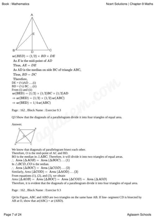 small resolution of NCERT Solutions for Class 9 Maths Chapter 9 Areas of Parallelograms and  Triangles   AglaSem Schools