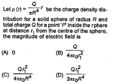 Let ρ (r) r be the charge density dis- tribution for a
