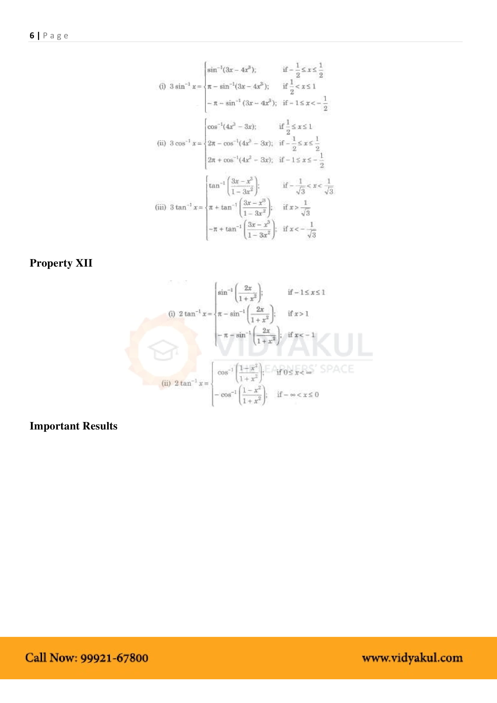 Inverse Trigonometric Functions Class 12 Formulas And