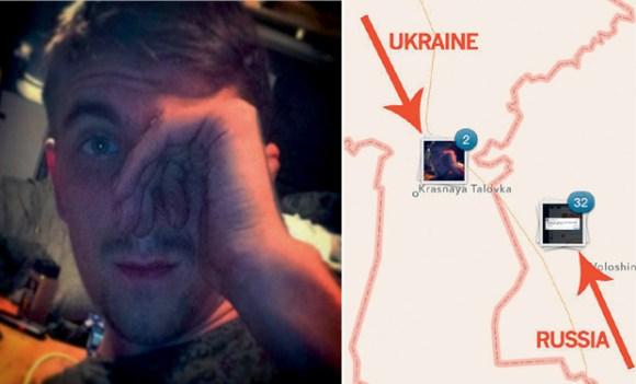 Juillet 2014. Alors que la Russie nie toute intervention en Ukraine, des selfies de soldats russes géolocalisés en Ukraine apparaissent sur Instagram. Credit image : Deccan Chronicle