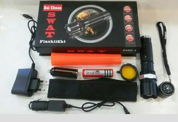 LAMPU Senter Swatt POLICE LASER POLISI FLASH LIGHT MULTIFUNGSI