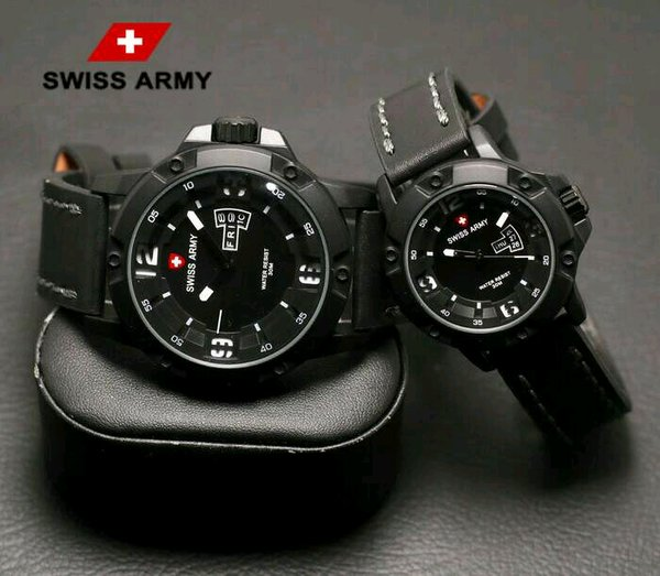 Jam Tangan Couple Elegan Swiss Army Kulit