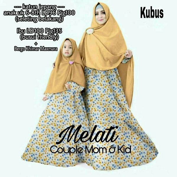 DNC1 COUPLE HIJAB MOM AND KIDS BAJU MUSLIM IBU DAN ANAK MODIS MURAH BUNGA MELATI SYARI MUSLIM