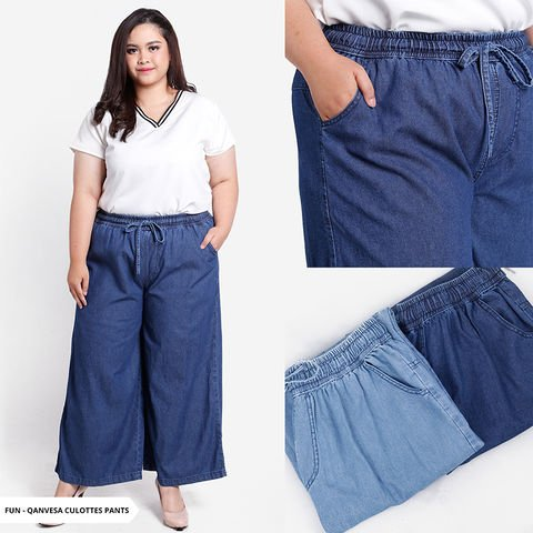 Celana Cullotes Jumbo Wanita - Celana Kulot Denim Besar Big Size - Qanvesa
