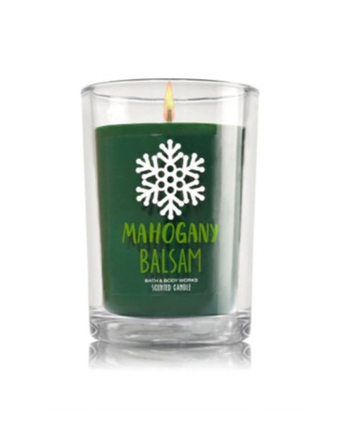 MAHOGANY BALSAM - LILIN AROMATHERAPY - MEDIUM CANDLE  - BATH AND BODY WORKS