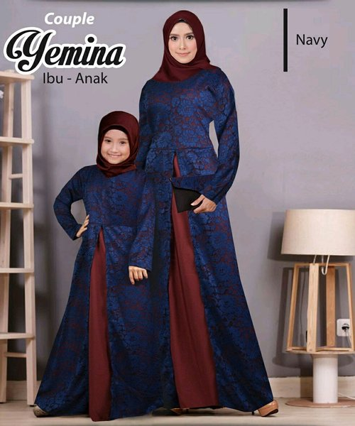 Couple Ibu dan Anak Baju Gamis Busana Muslim Maxi Dress Syari KF Couple Novie