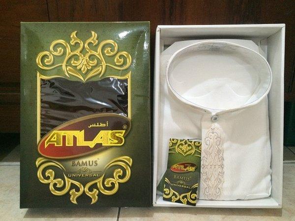 Promo Baju Muslim Koko Pria - Baju Koko Atlas Bamus Universal Warna Putih Ukuran M