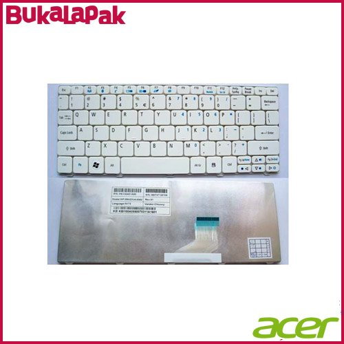 Keyboard Laptop ACER Aspire One 521h 522h 532h 533h D255 D260 Happy Happy 2 White