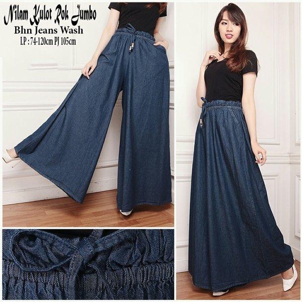 Ready Stock Sb Collection Celana Panjang Adara Kulot Jeans Rok Jumbo Wanita