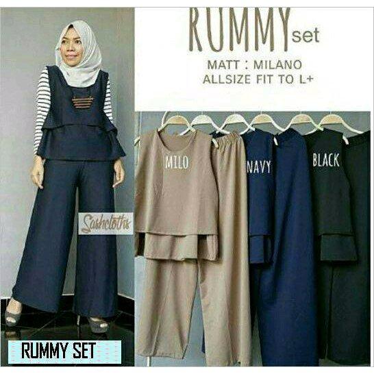 RUMMY  set setelan baju atasan blouse luaran bawahan celana kulot wanita panjang muslim