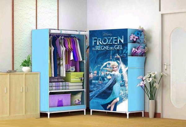 lemari kain QW792 R01 FROZEN Lemari pakaian Multifunction Wardrobe Single rak pak
