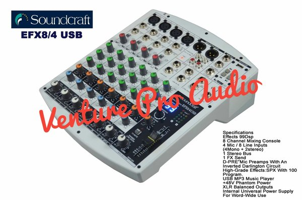 Mixer Audio Soundcraft EFX8 4USB