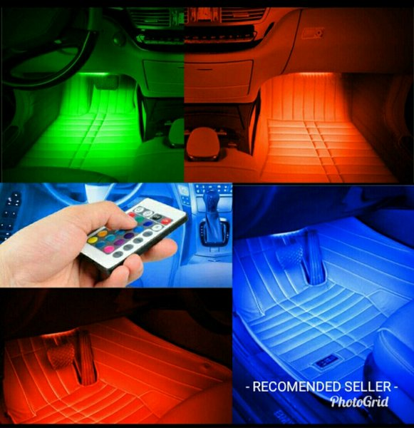 DRL LED 4 pcs Kolong Lampu mobil Dekorasi Dashboard 16 Warna Remote