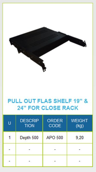 Fortuna 19  Pull Out Flat Shelf For Close Rack Depth 500mm