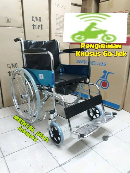 KURSI RODA COMMODE LIPAT BAB  2 IN 1 SELLA ATAU SELLACO JOK BUSA EMPUK