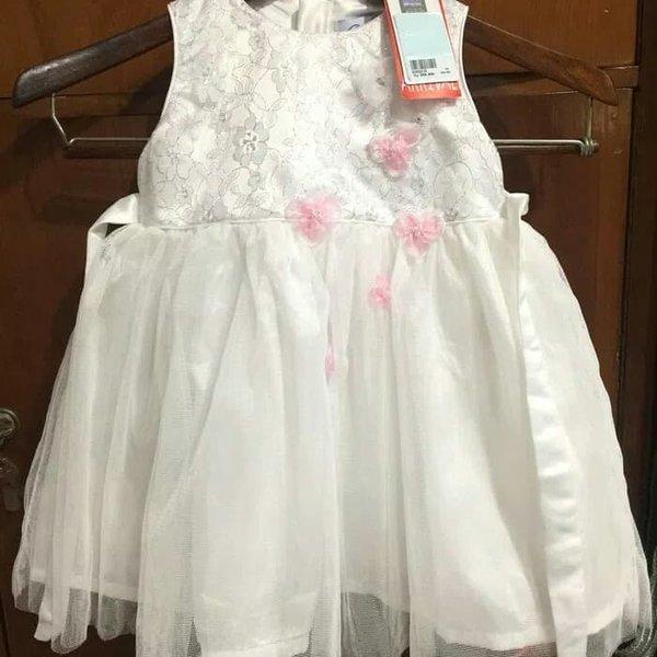 Terlaris - gaun dress anak perempuan putih natal imlek murah donita