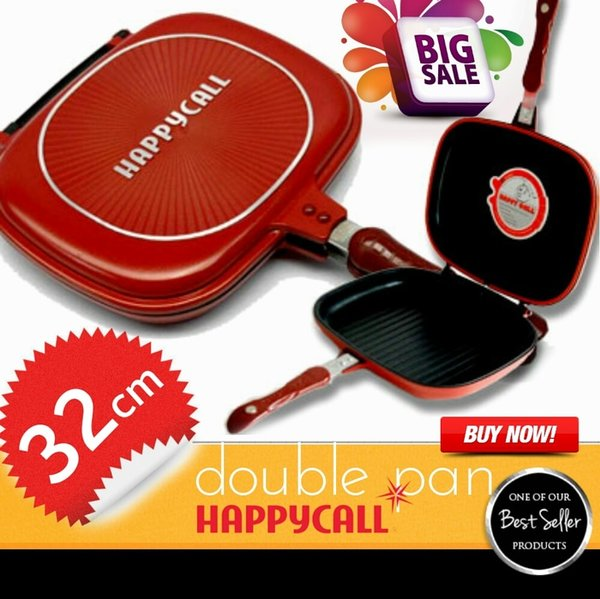 New Product Happy Call 32 Cm Panci Teflon Double Pan Bisa Tuk Alat Panggang Grill