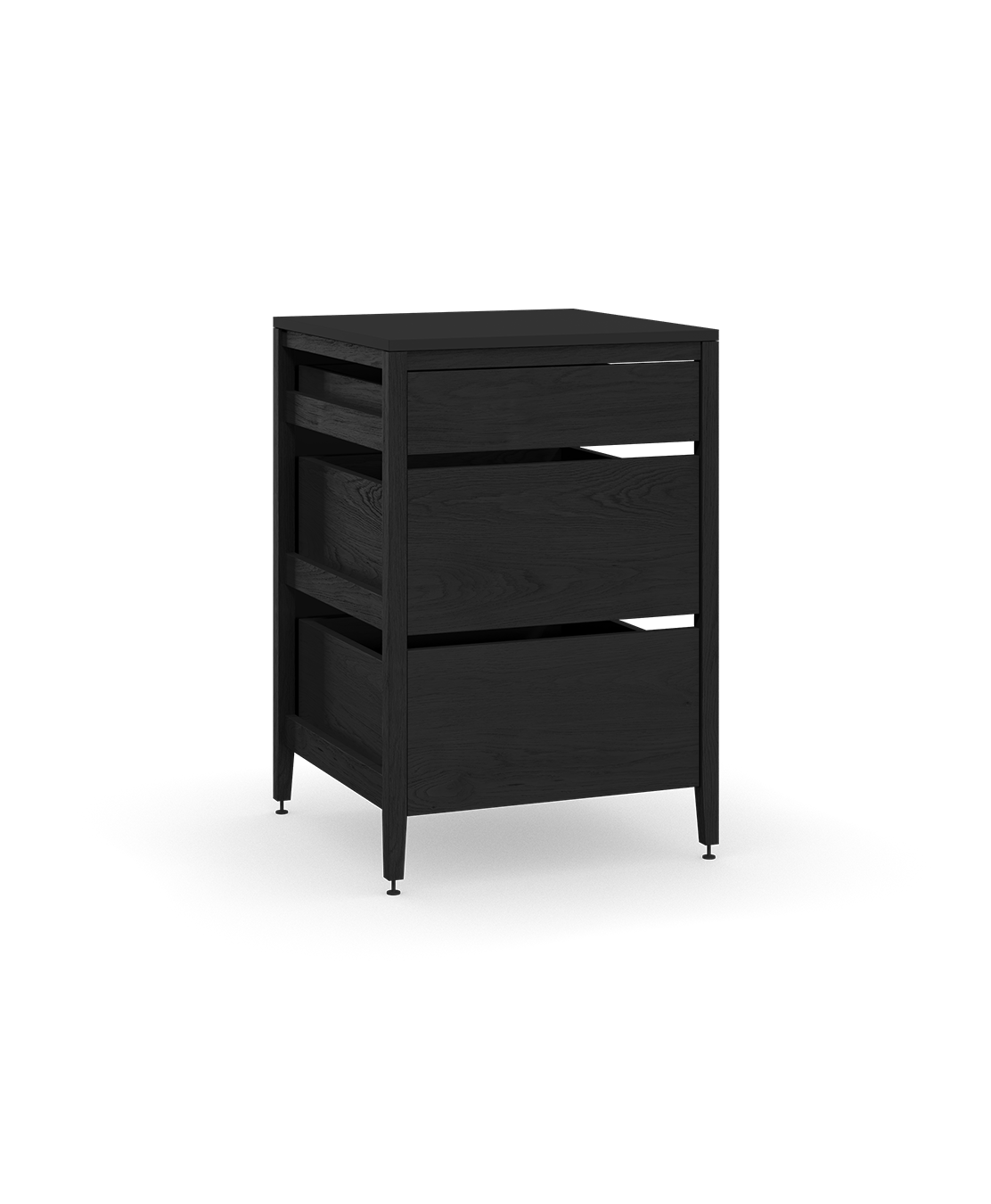 base kitchen cabinets sink light radix cabinet 3 drawers 27 in black stain oak blk coquo midnight stained solid wood modular inch