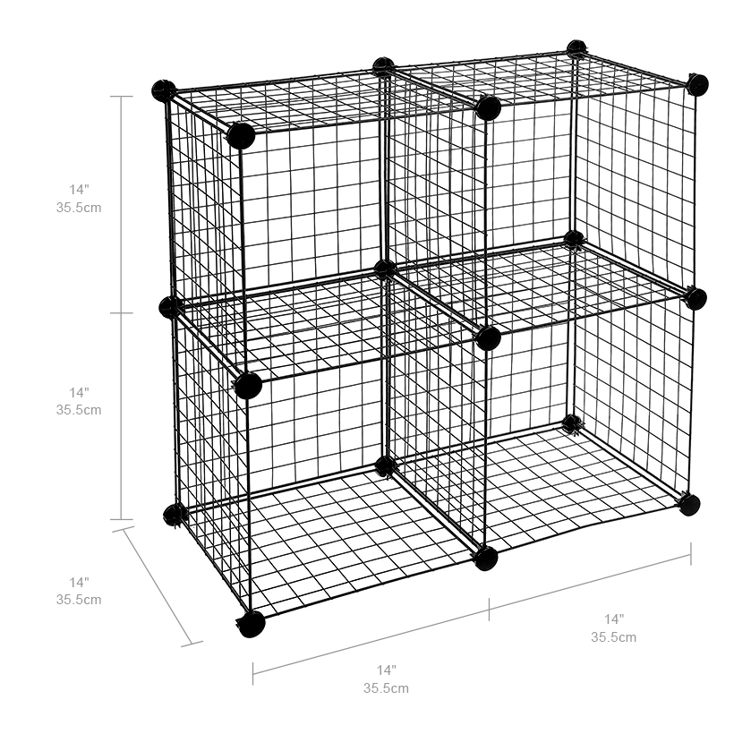 4-Cube Storage Shelving Rack DIY Wire Grid Bookcase