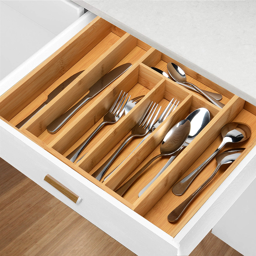 kitchen drawer cheapest place to buy cabinets organizer expandable cutlery tray bamboo utensil make the most of what you have maximize your available storage space in standard sized drawers so not an inch is wasted nothing gets lost and see