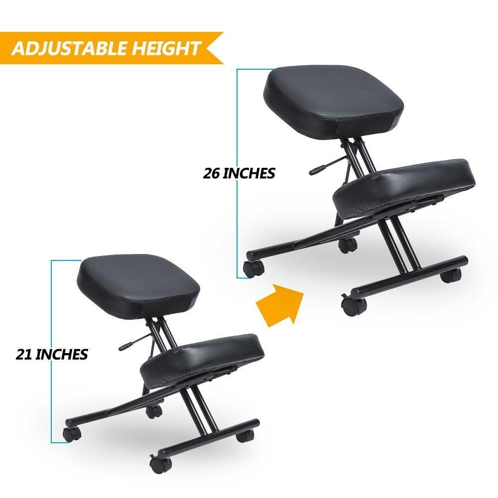 Office Chair Posture Ergonomic Adjustable Kneeling Office Chair Black Moustache 1 Pack