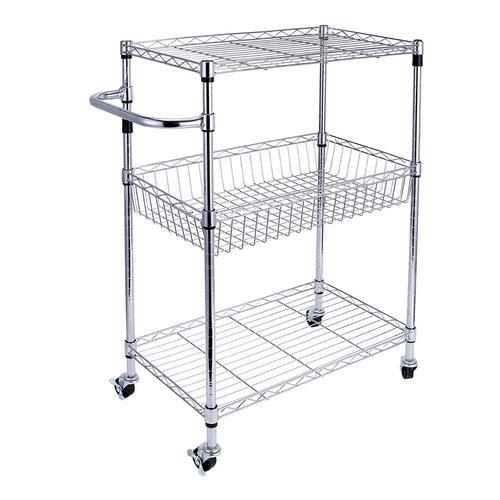 Storage Rack Organizer With Wheels Steel Chrome Basket
