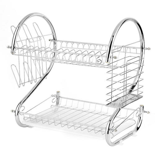Dish Drying Rack Drainer With Drainboard S-shaped 2-Tier