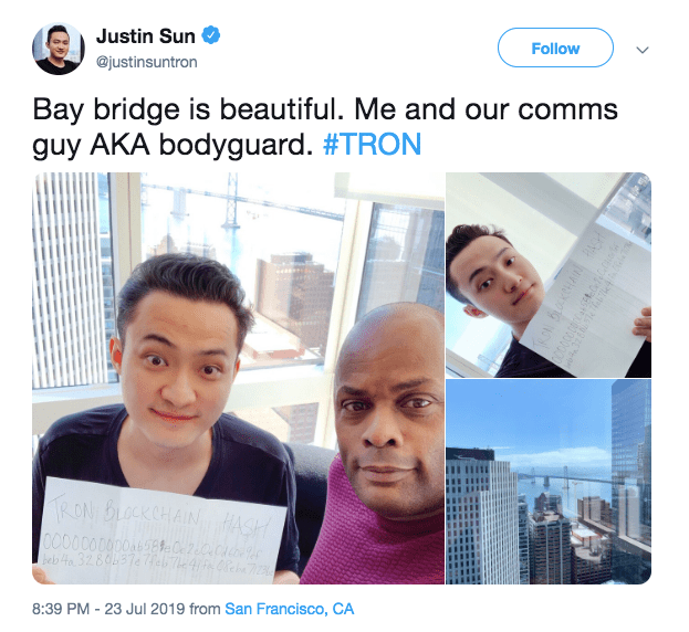Justin Sun and Cliff Edwards in San Francisco