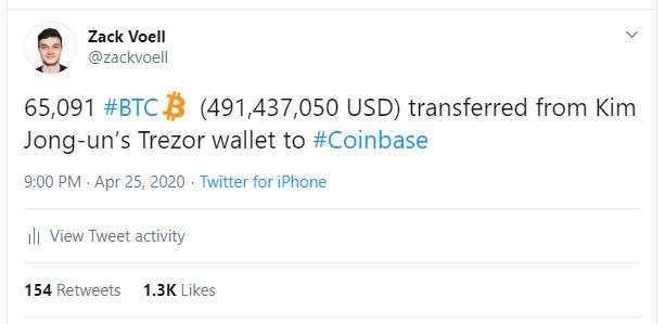 Kim Jong-Un's deleted Bitcoin transfer joke. Source: Twitter