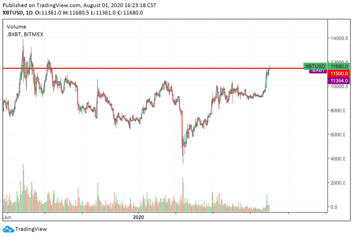 Bitcoin's daily chart with a major resistance level
